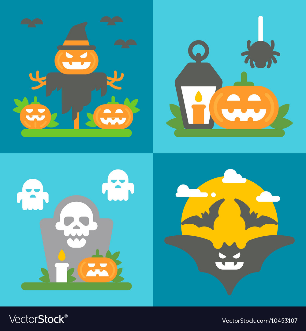 Flat design Halloween decor set