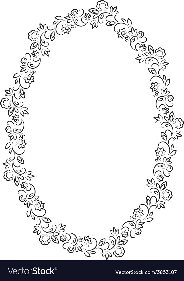 Floral oval frame on white background Royalty Free Vector