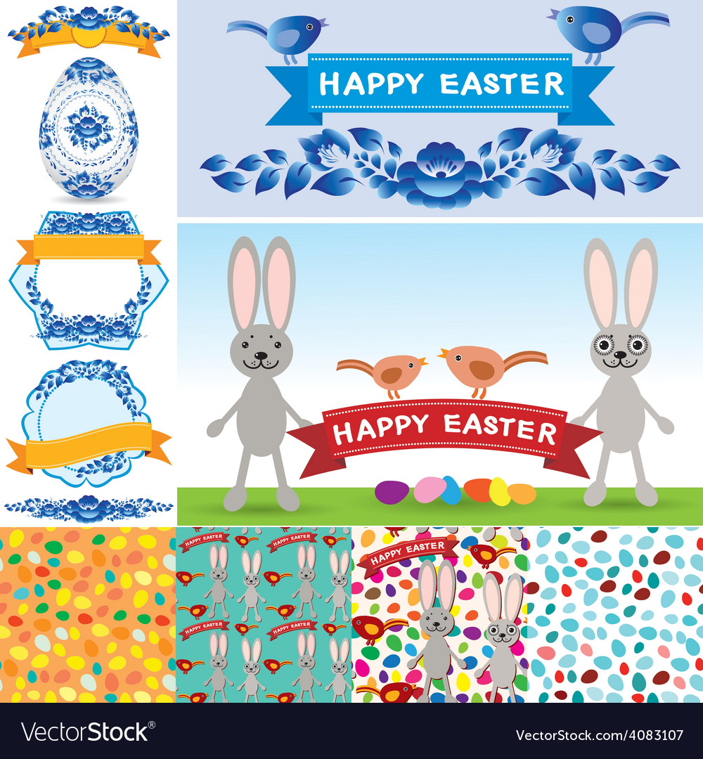 Happy Easter set Rabbit eggs flowers ribbons vector image