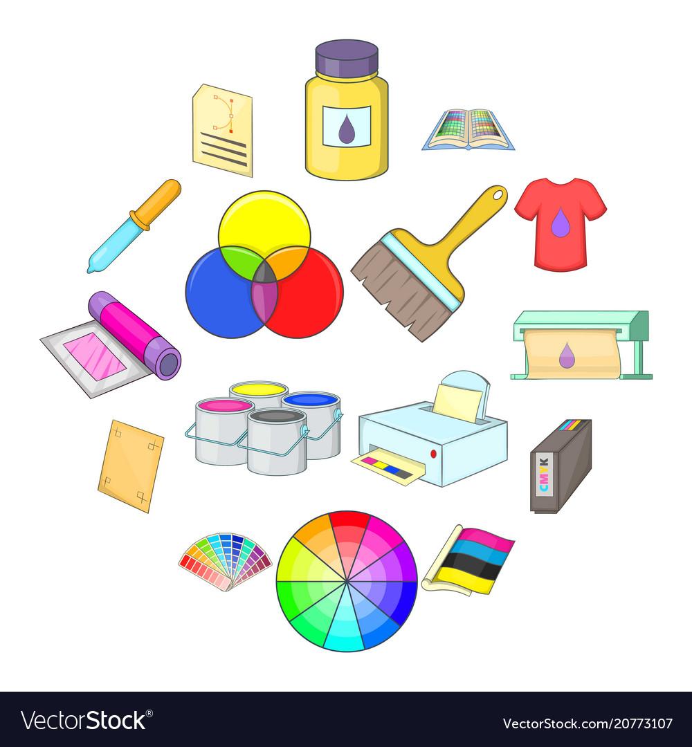 Print process icons set cartoon style