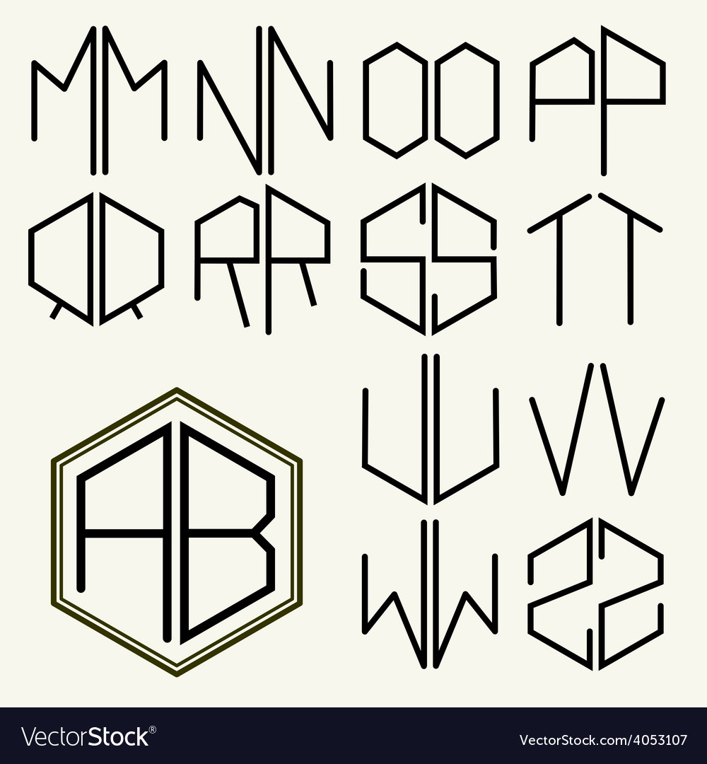 Set 2 template letters to create monograms