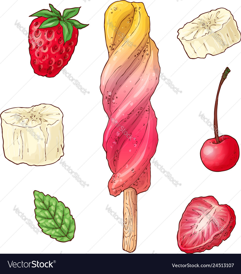 Set ice cream raspberry cherry banana hand