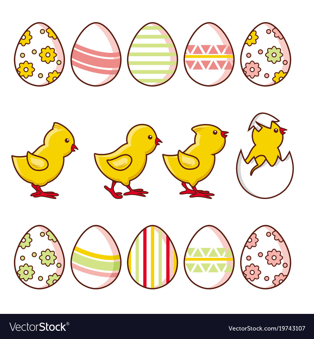 Set Of Baby Chickens And Decorated Easter Eggs Vector Image