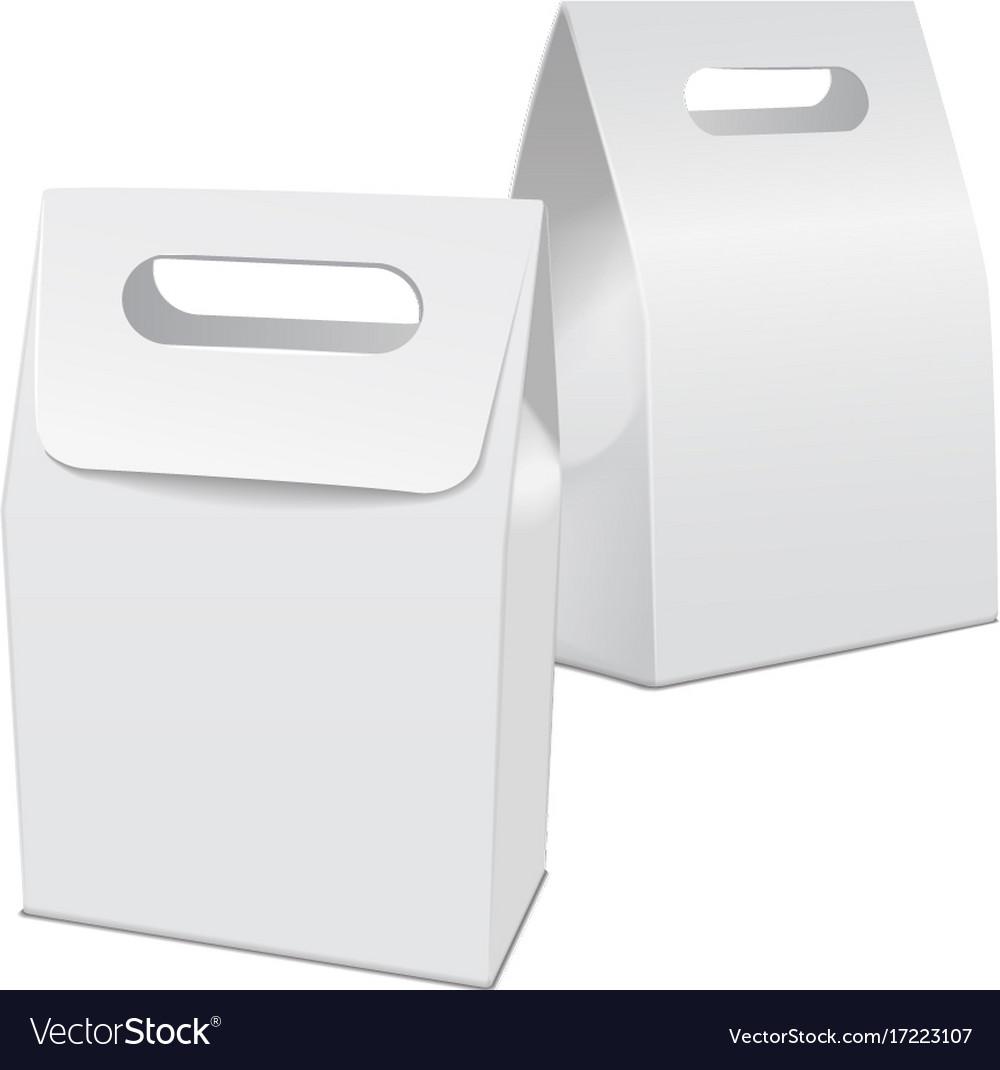 Set of blank white 3d model cardboard take away