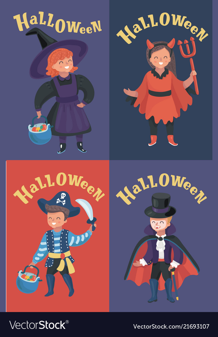 Set of children halloween costumes