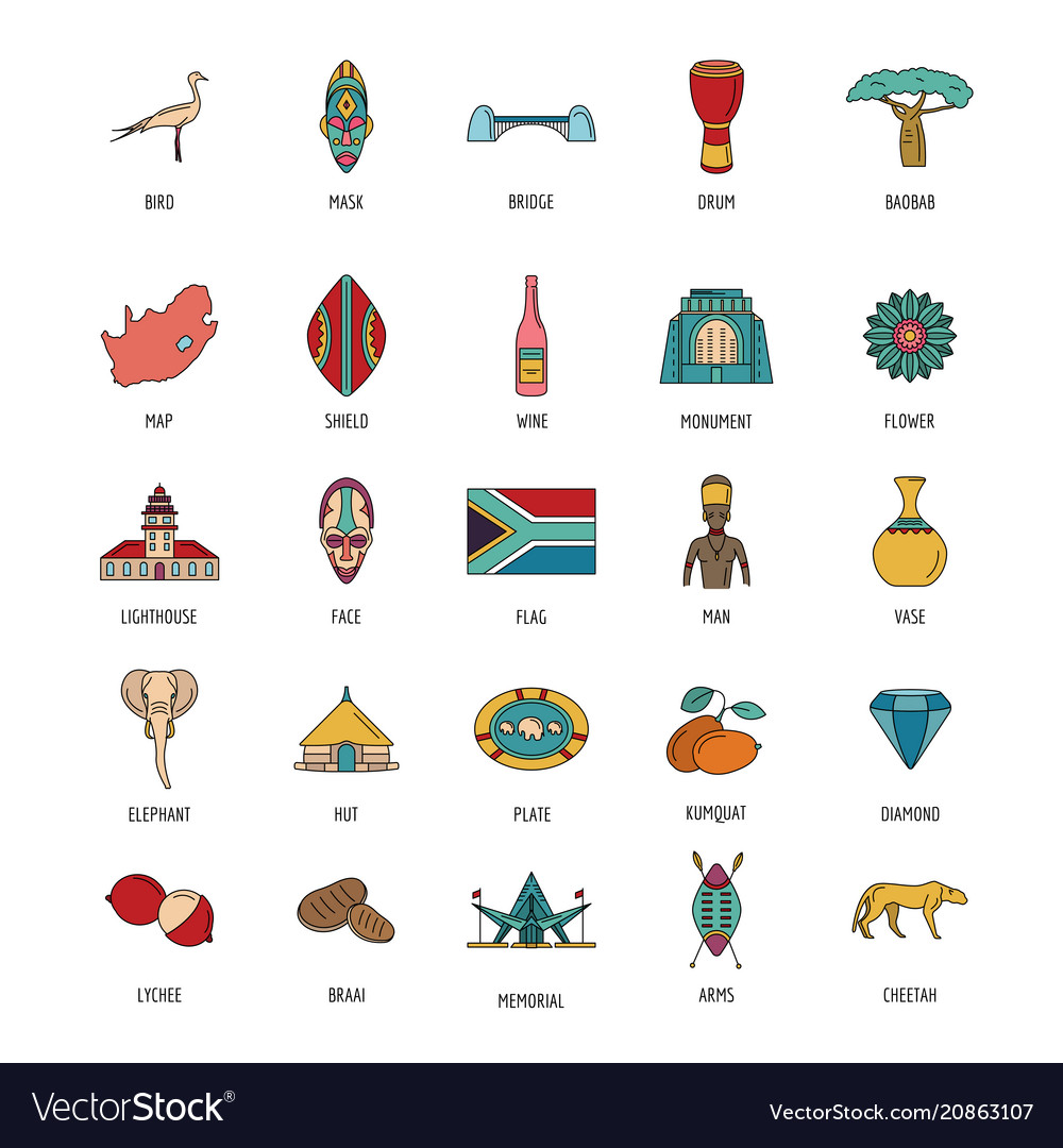 South africa icons set cartoon style