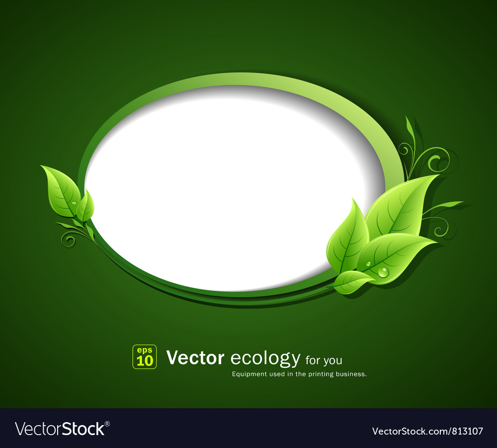 Speech bubble green leaf ecology vector image