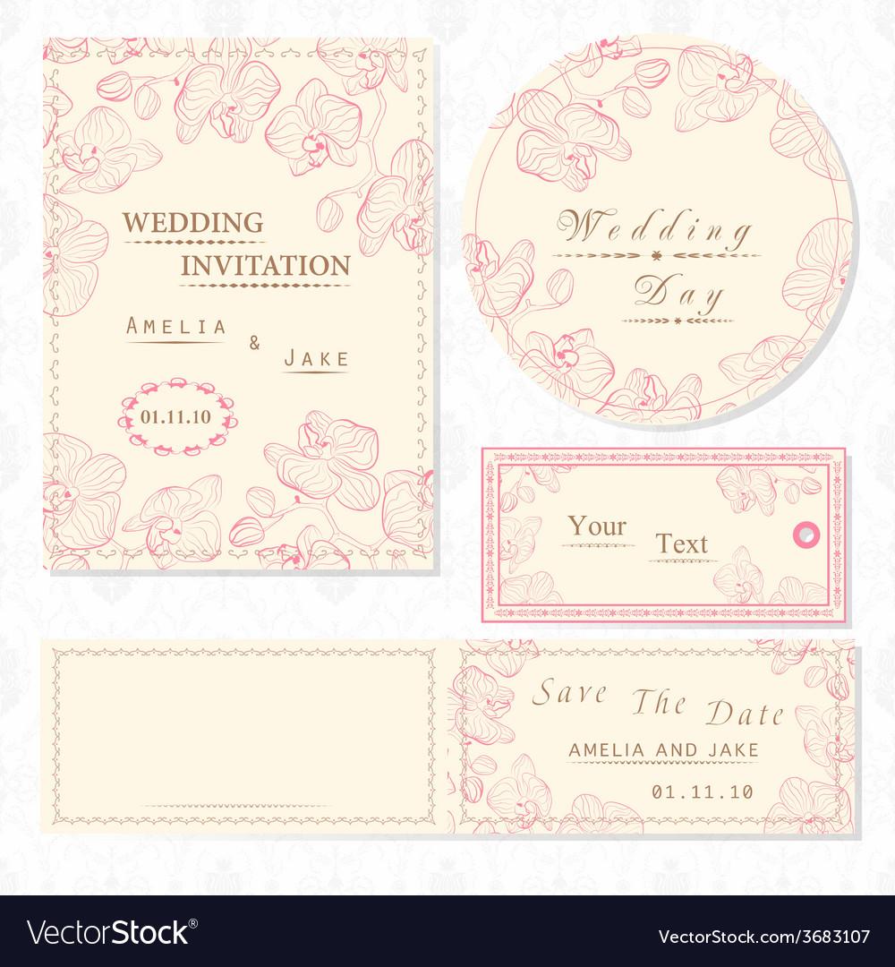 Wedding invitation cards and tag wedding set