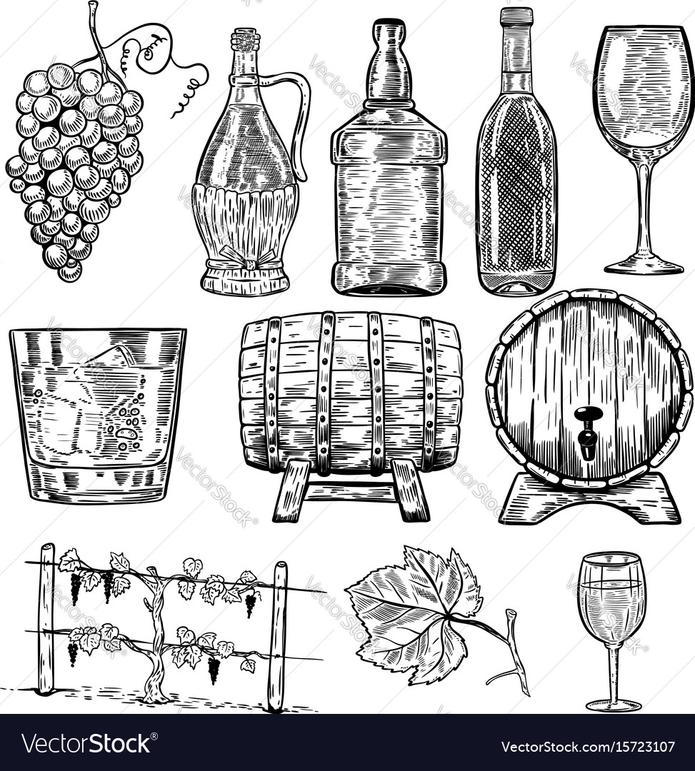 Wine set of wine bottles grape glass wood barrels
