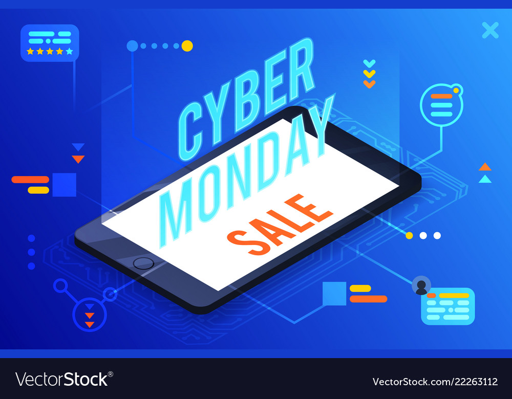 3d isometric cyber monday online sale smartphone