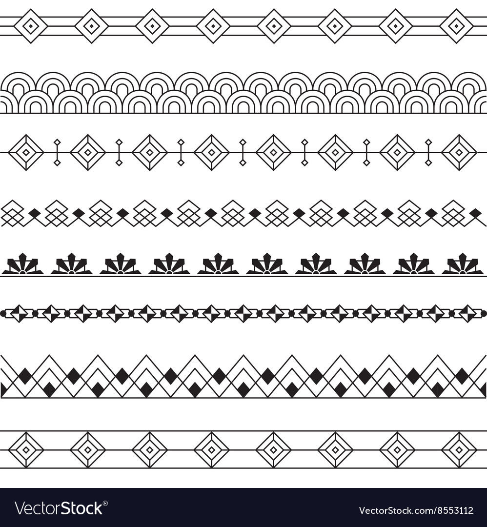 Art deco borders style line design variable line