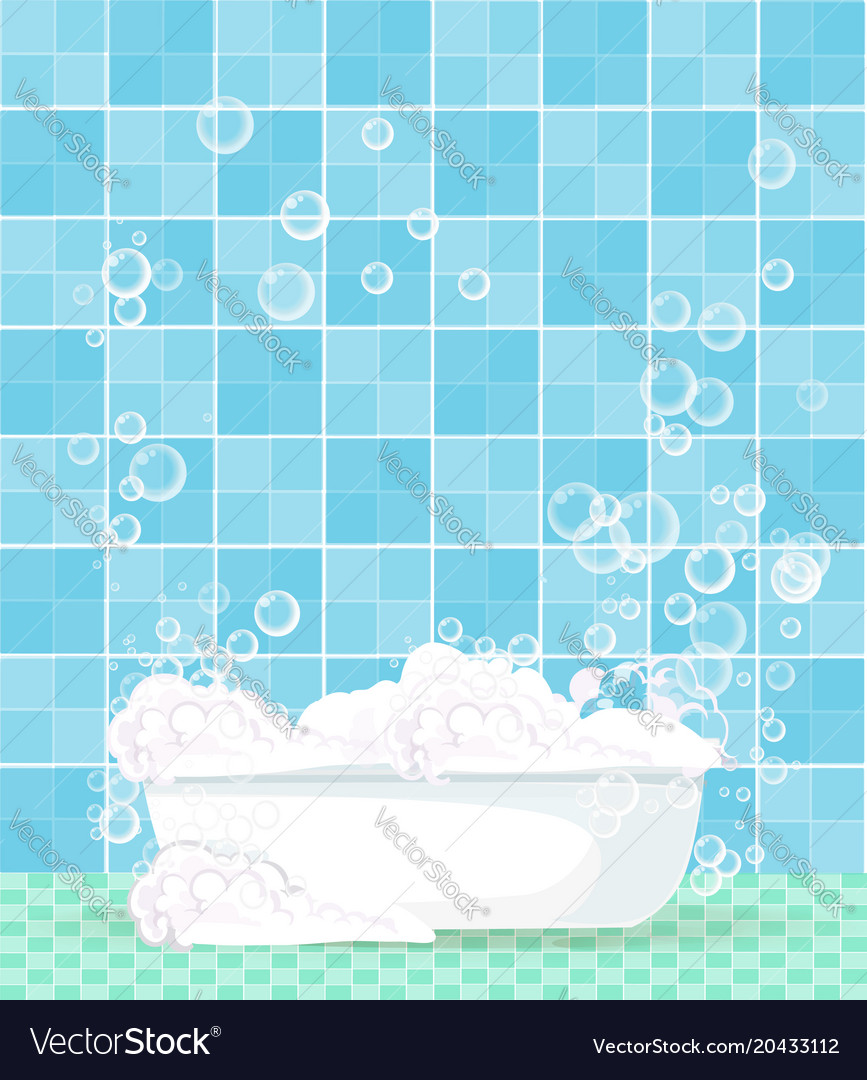 Bathtub full of foam with floating soap bubbles Vector Image