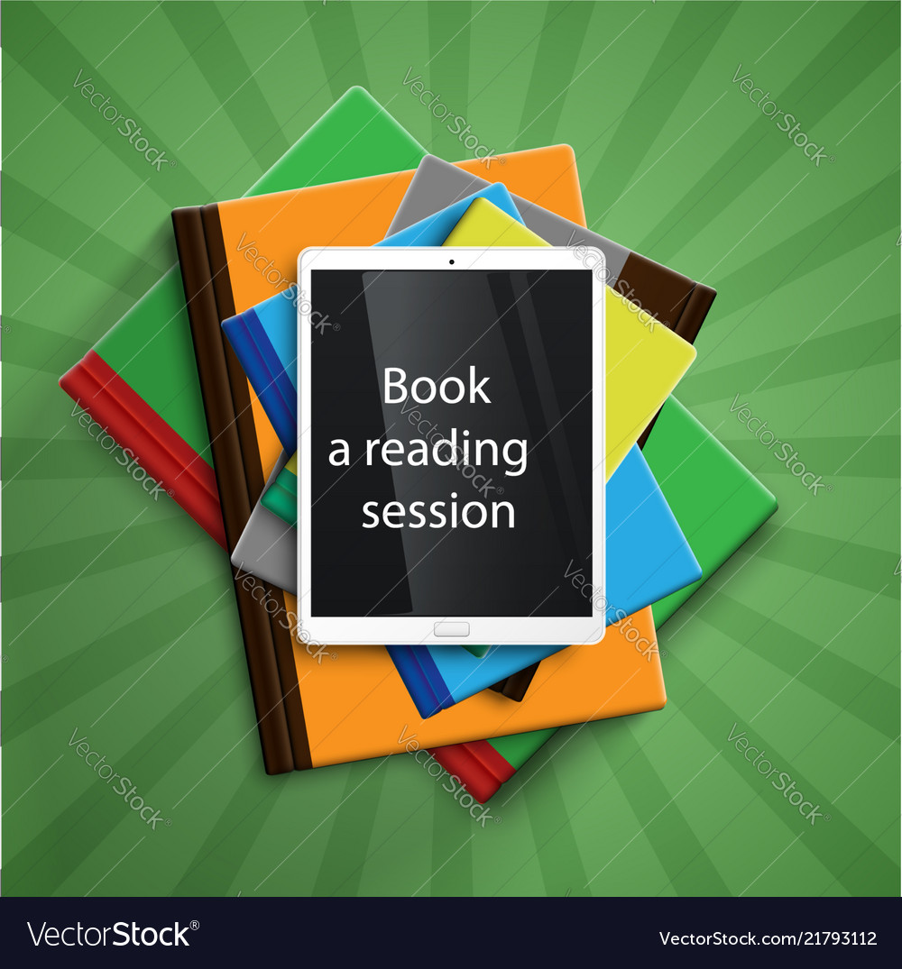 Colorful books and a e-book readertablet