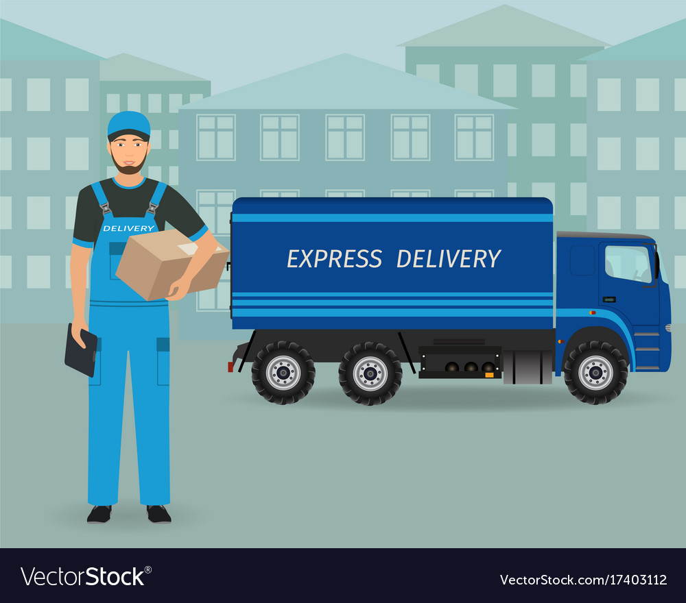 Delivery employee character standing with folder