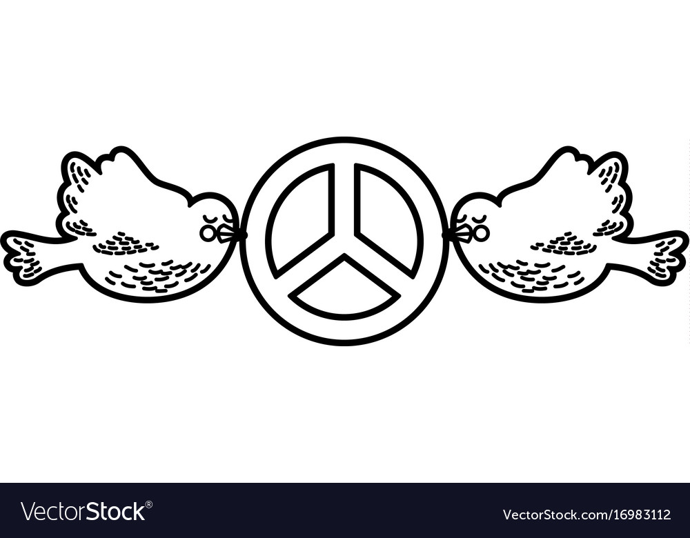 Doves flying with peace symbol isolated icon