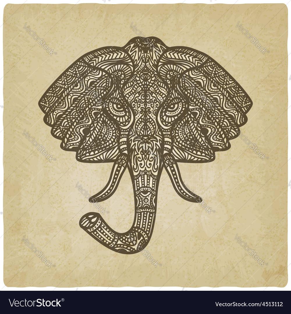 Elephant hand drawn pattern old background