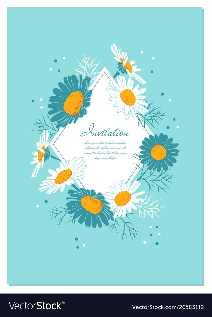 Flowers card chamomile background daisy wreath