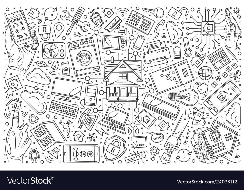 Hand drawn smart home set doodle background