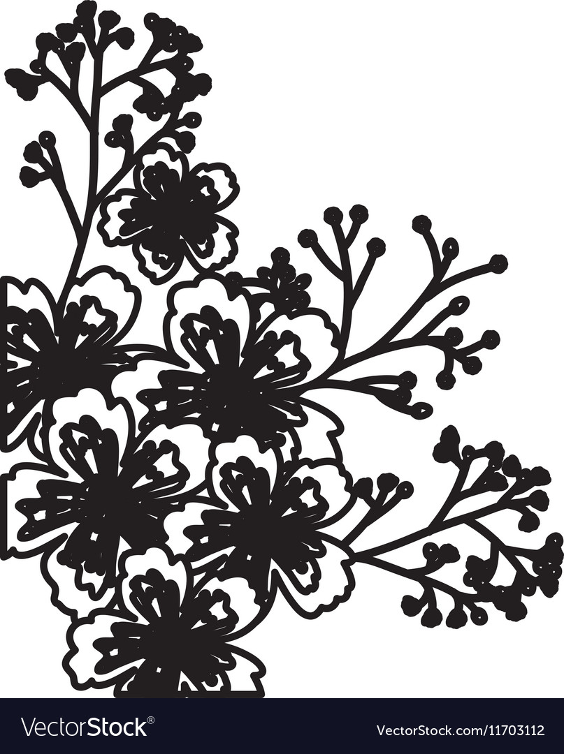 Isolated Flowers Silhouette Decoration Design Vector Image
