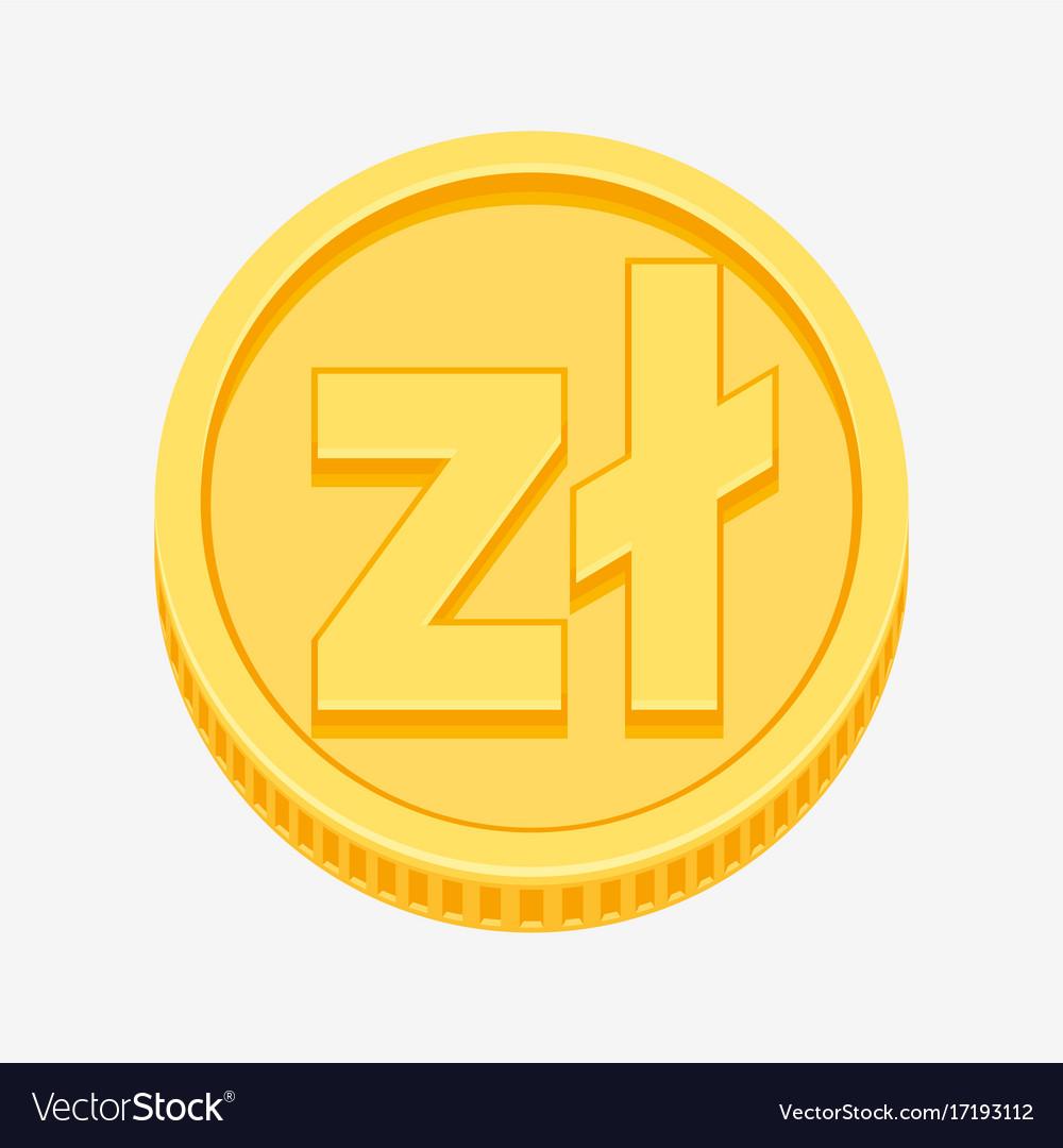 Polish Zloty Symbol On Gold Coin Royalty Free Vector Image