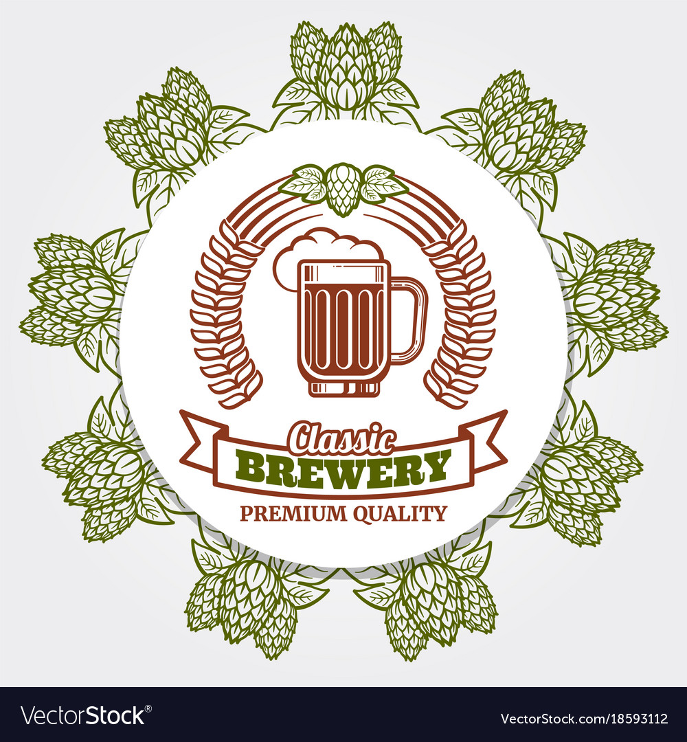 Round beer banner with hops and beer label