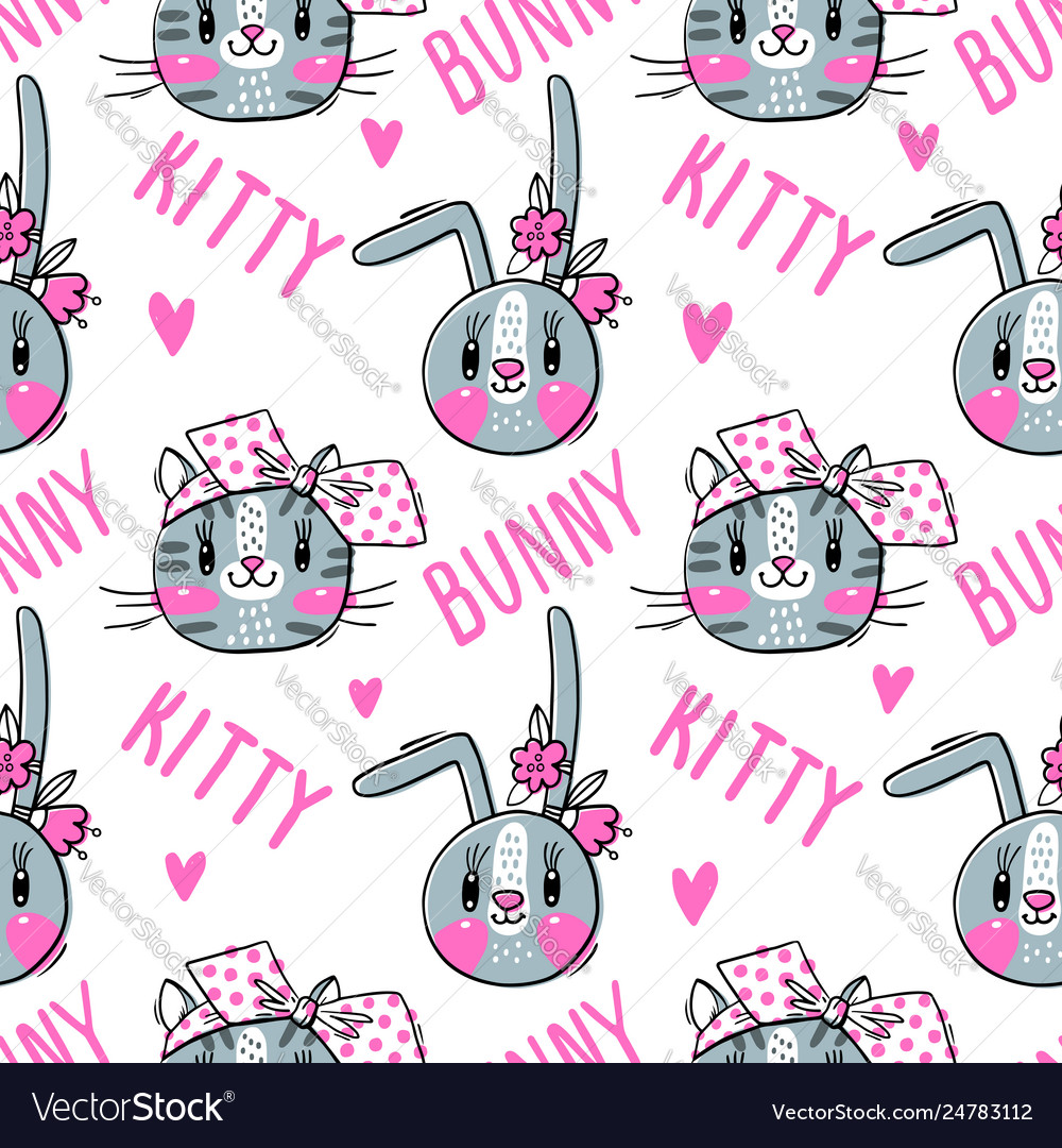 Seamless pattern with faces cats and rabbits in