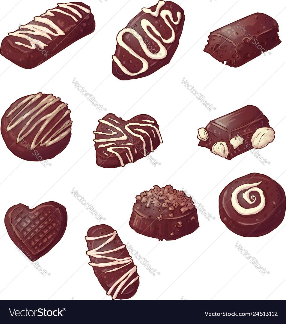 Set chocolate candies hand