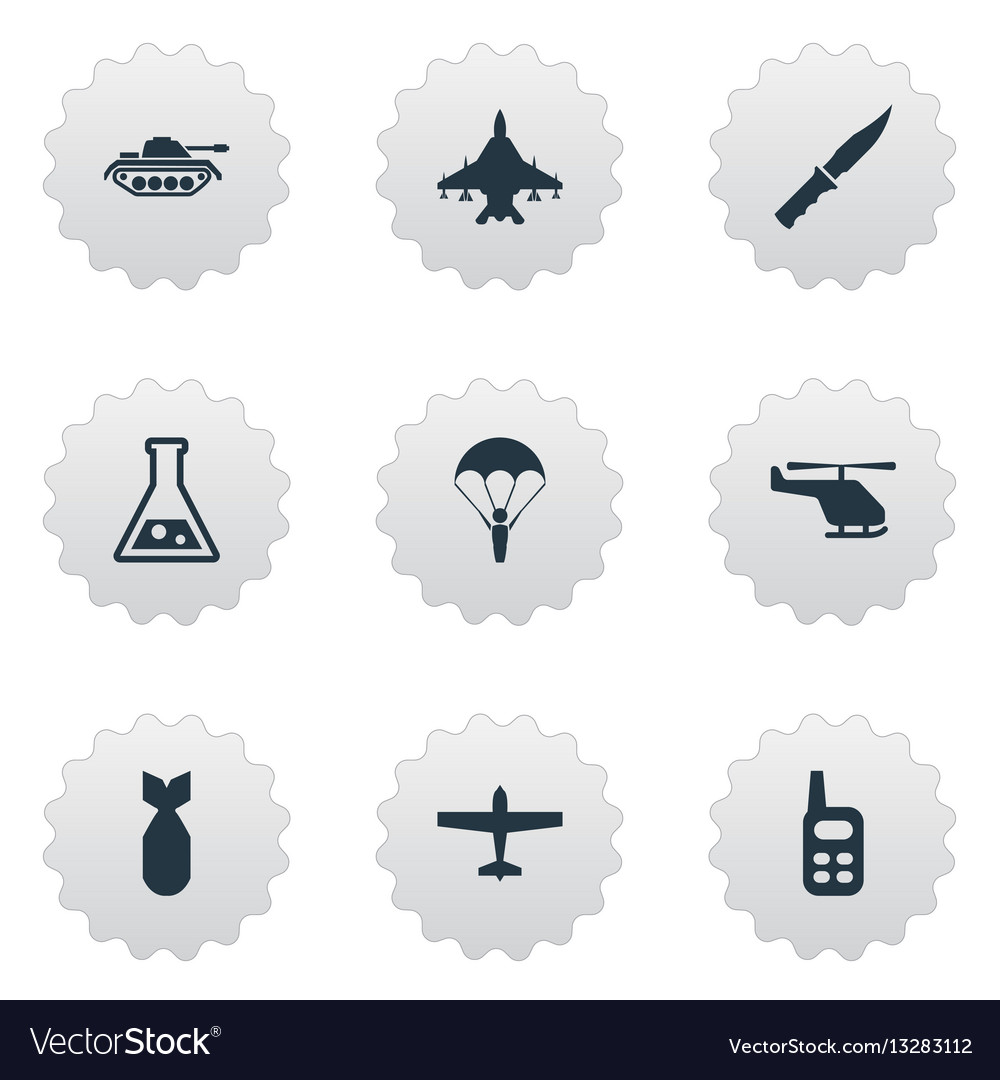 Set of 9 simple war icons can be found such