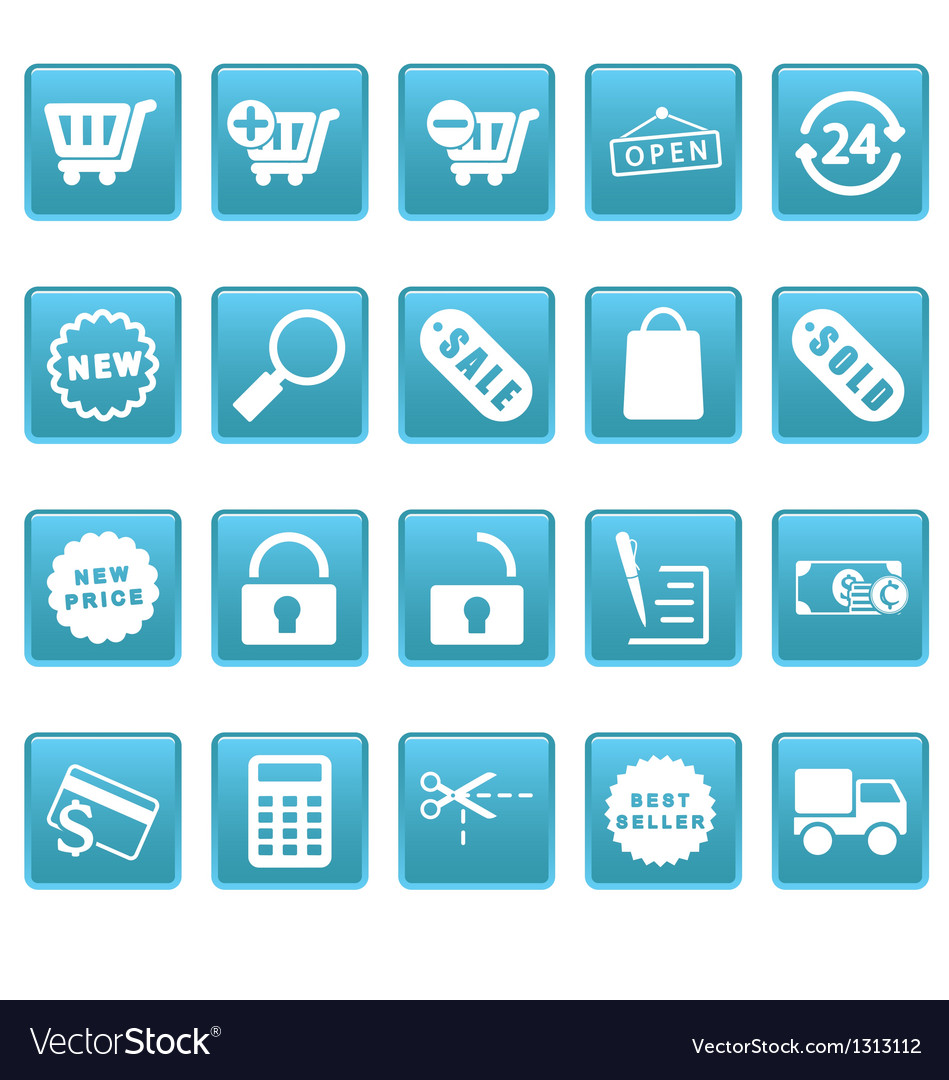 Shopping icons on blue squares