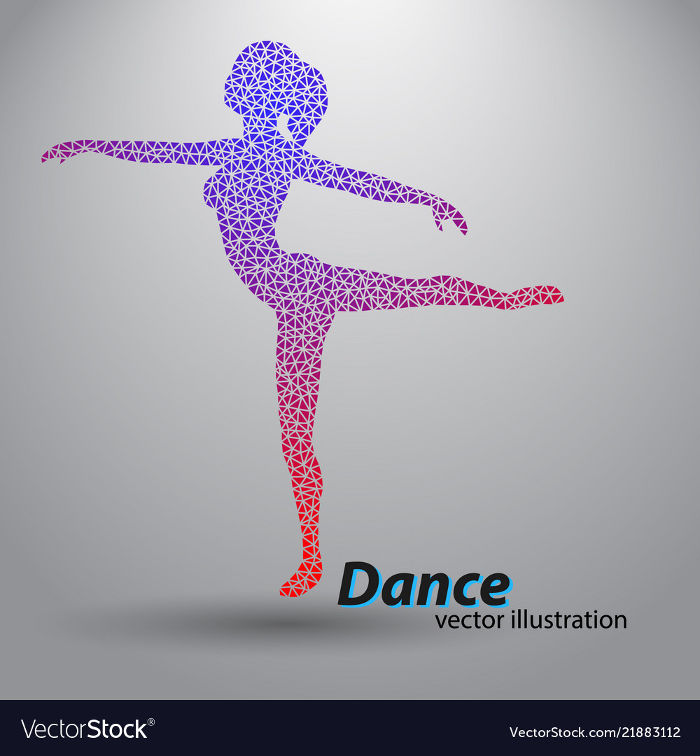 Silhouette of a dancing girl from triangles