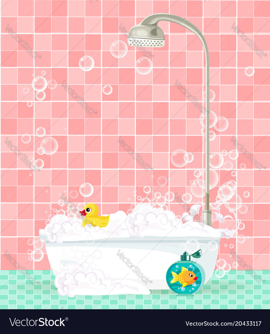 Bathtub with foam soap bubbles rubber duck on Vector Image