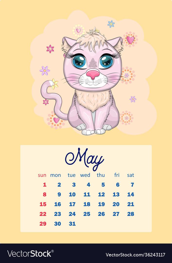 Cat Calendar 2022.Calendar 2022 With Cute Cardboard Animals For Vector Image