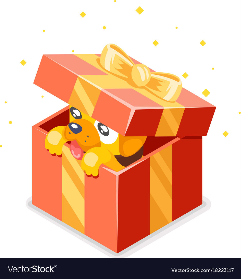 Cute cartoon baby yellow dog cub gift box 2018
