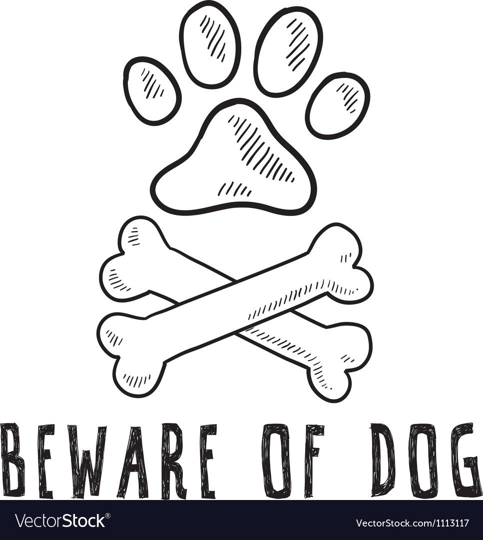 Doodle pet dog beware of dog bone paw print vector image