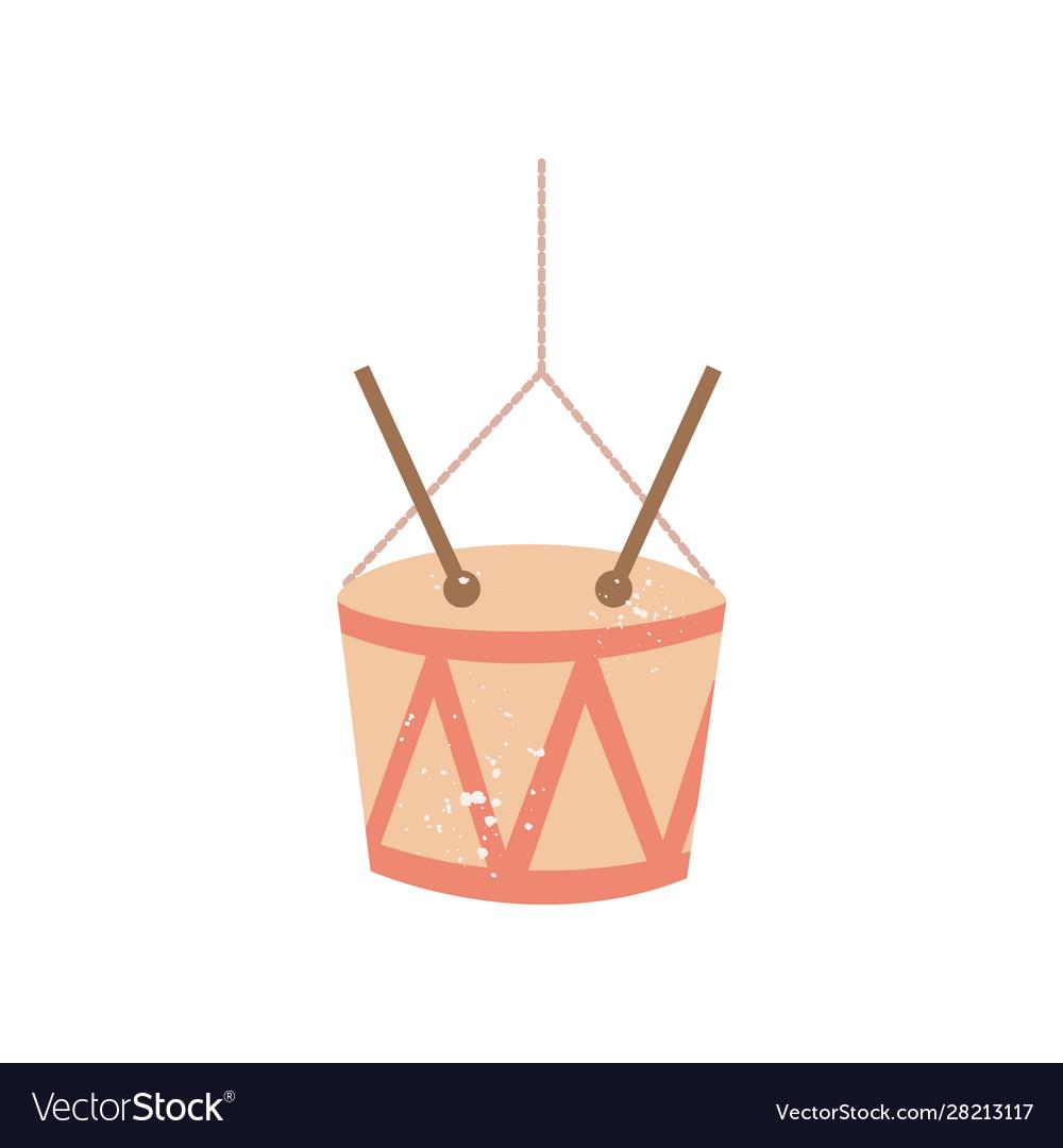 Drum with sticks christmas tree toy flat cartoon