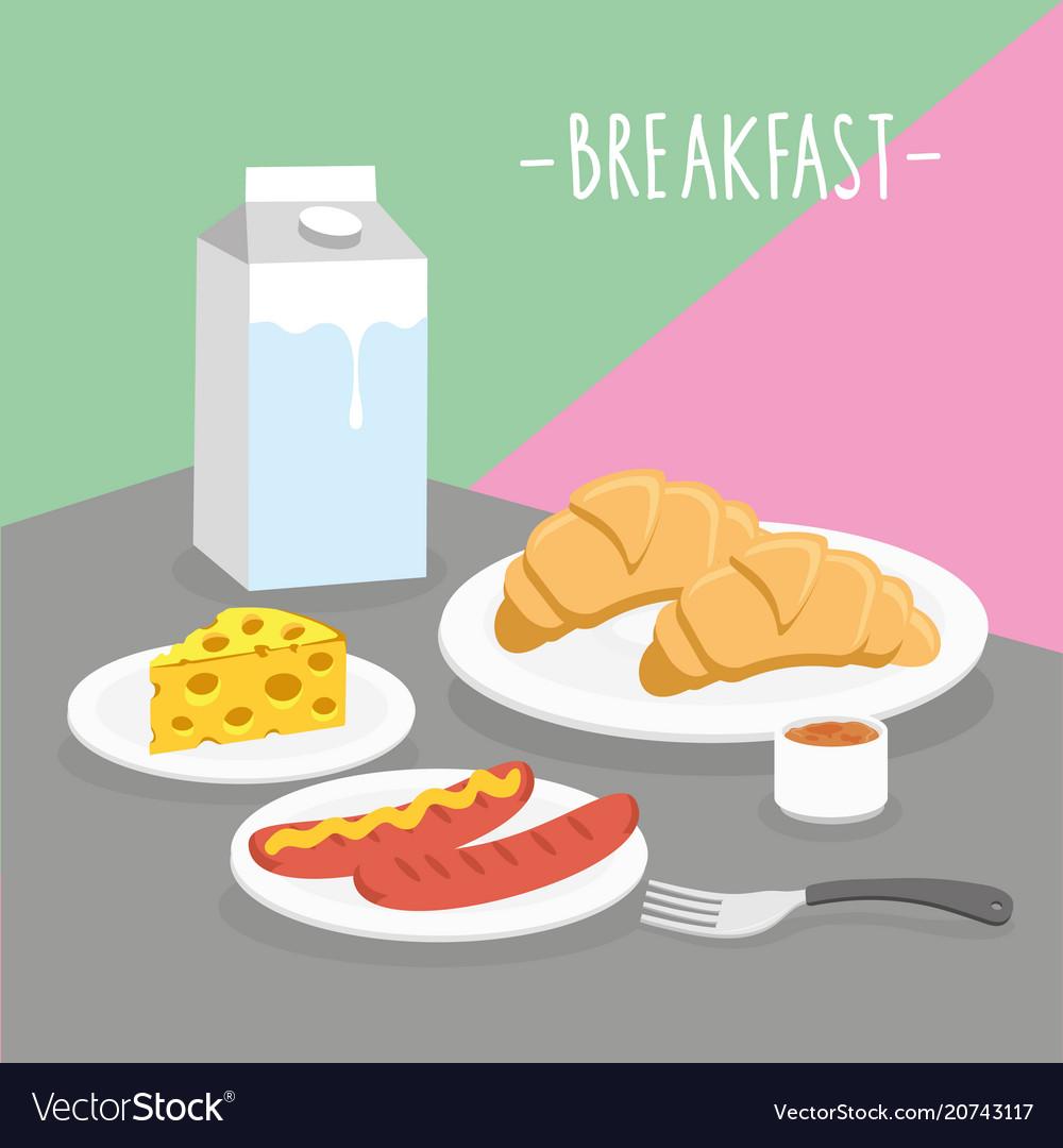 Food meal breakfast dairy eat drink menu vector image