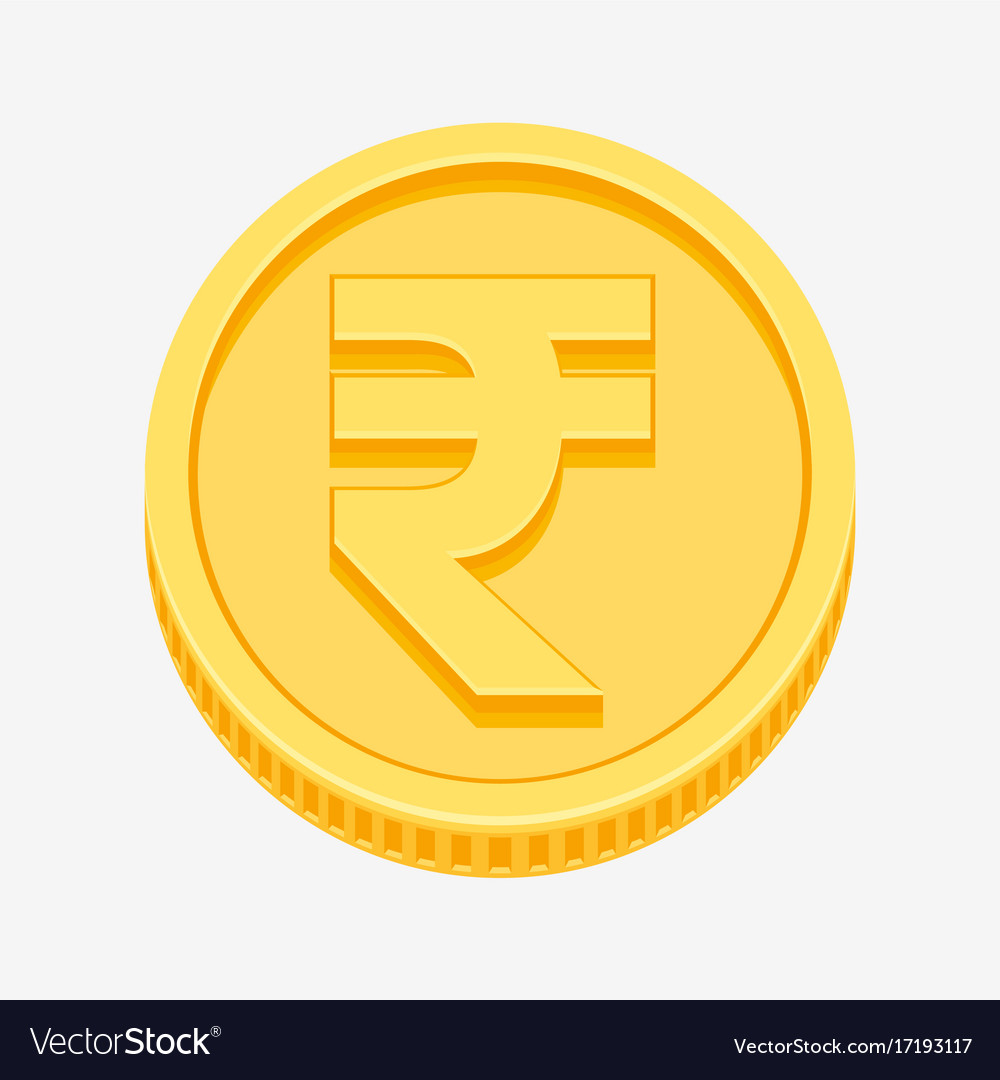 Indian Rupees Symbol On Gold Coin Royalty Free Vector Image