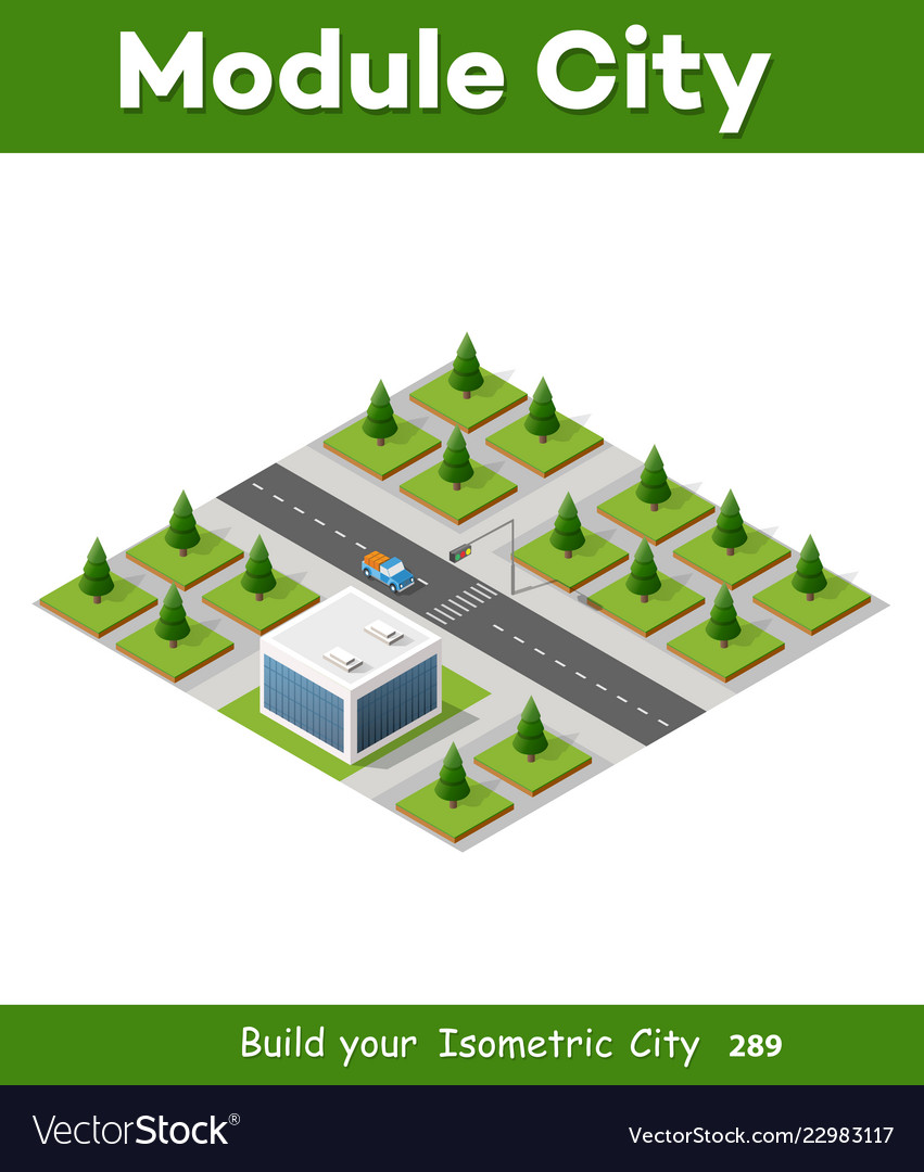 Isometric 3d park with trees
