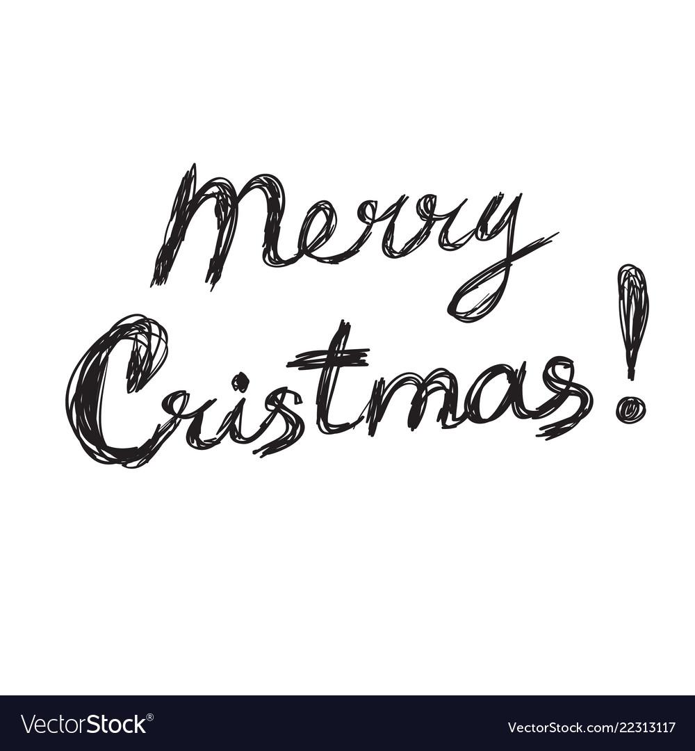 Merry christmas lettering logo scribbled