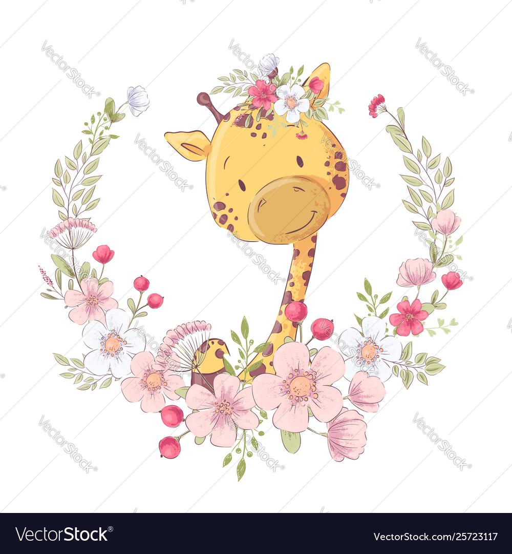 Postcard poster cute little giraffe in a wreath of
