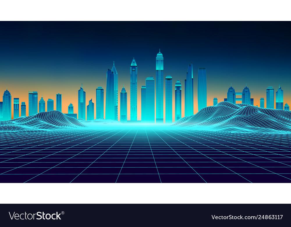 Retro background futuristic landscape 1980s style