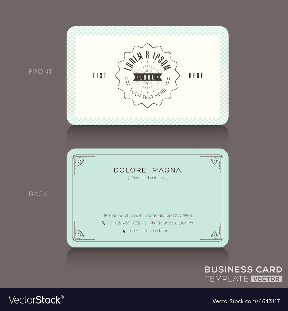 Retro hipster business card design template vector image flashek Gallery