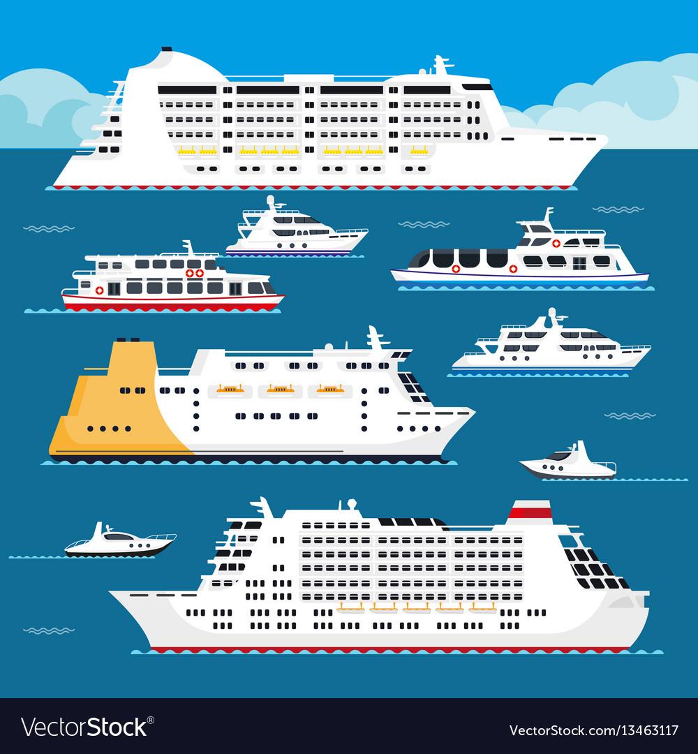 Sea cruise liner flat vacation passenger vector image