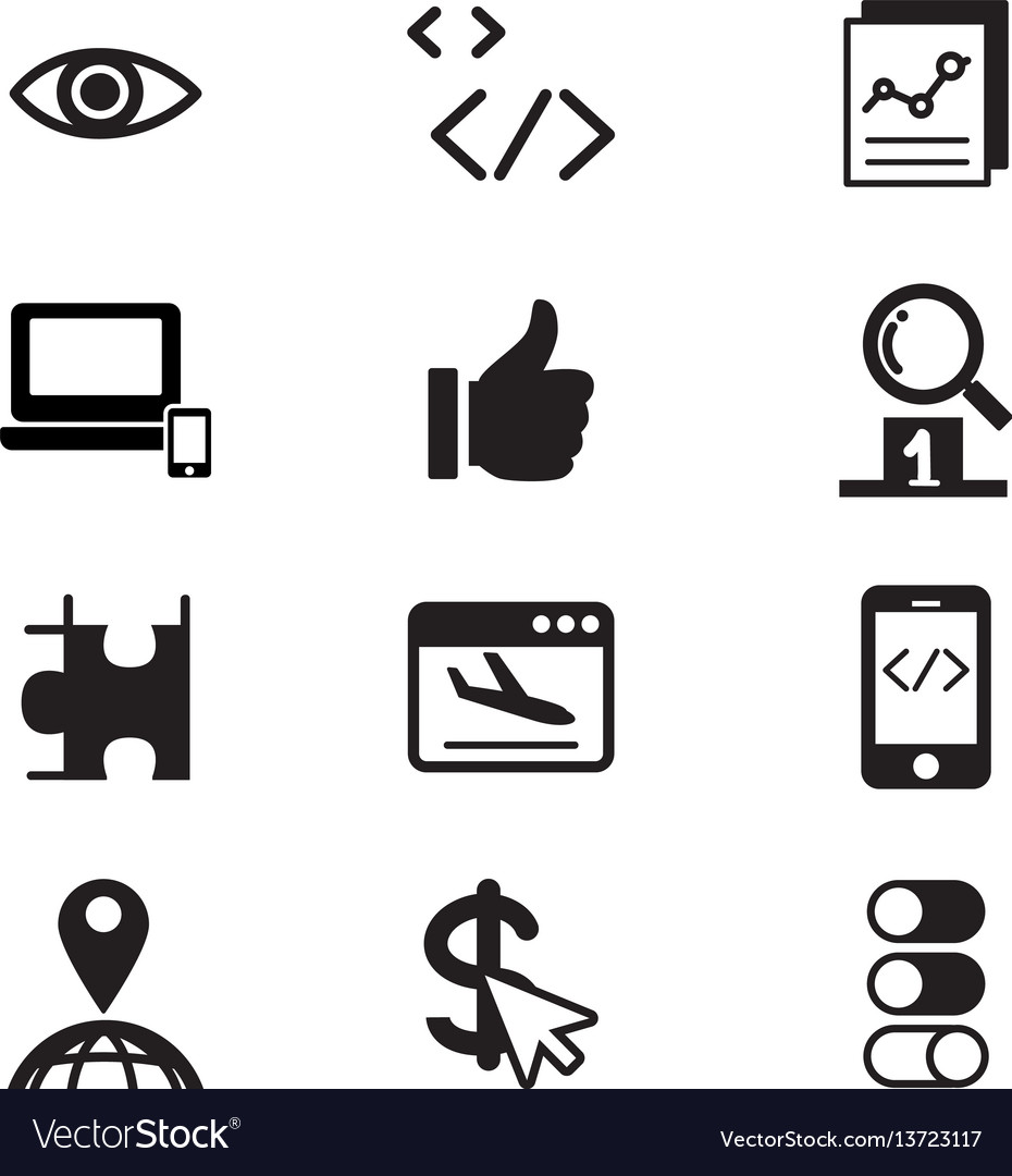 Seo search engine optimization icon set