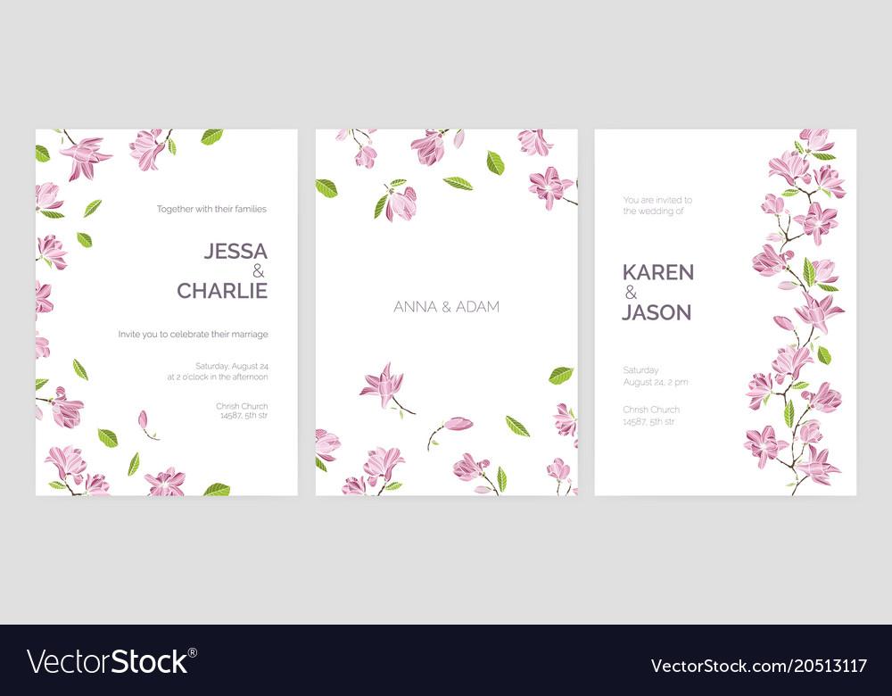 Set of beautiful wedding party invitation