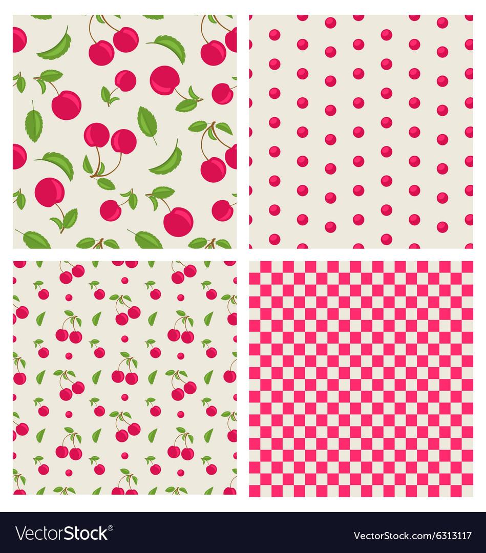 Set seamless cherry pattern