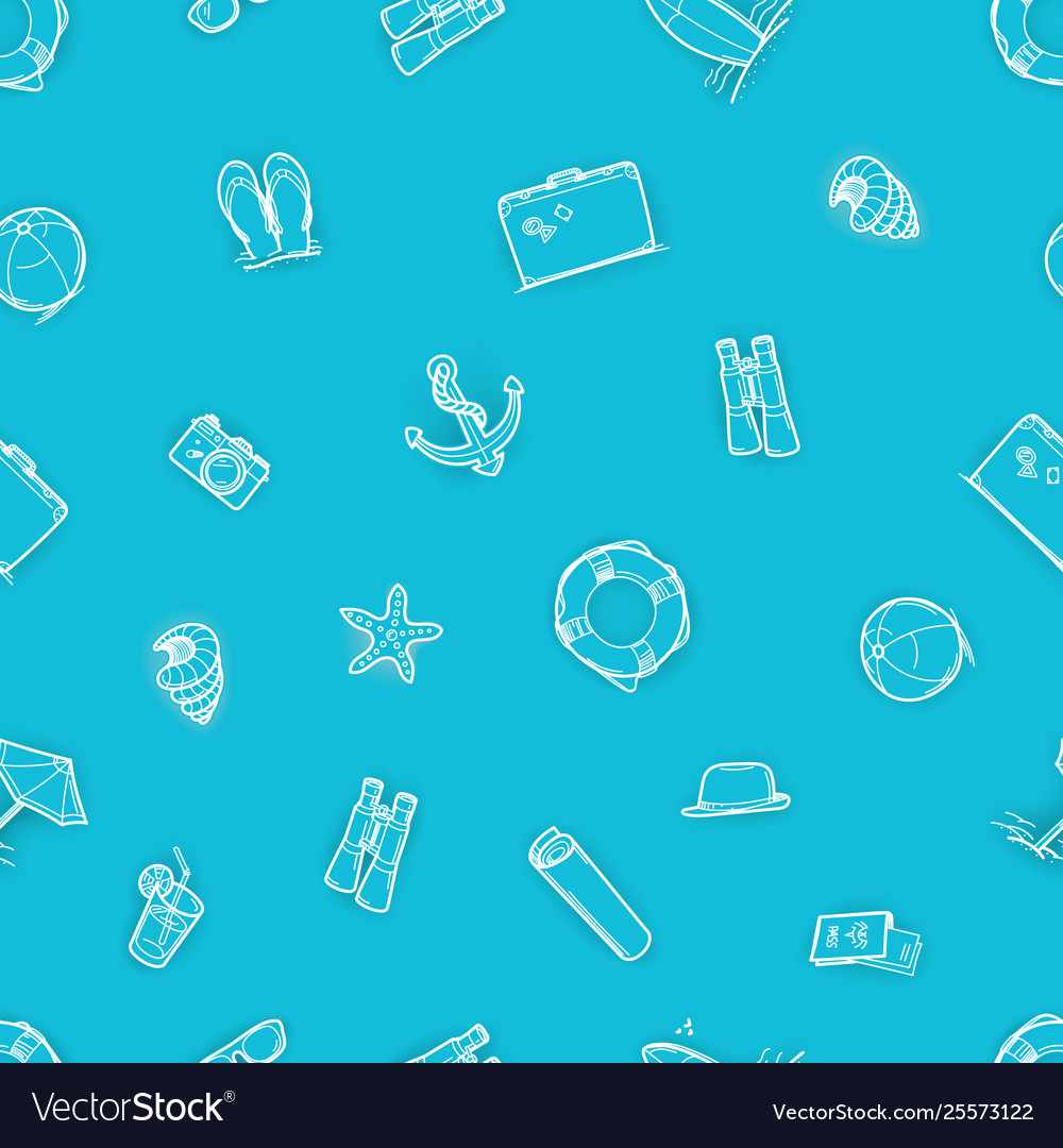 Abstract seamless pattern beach elements blue
