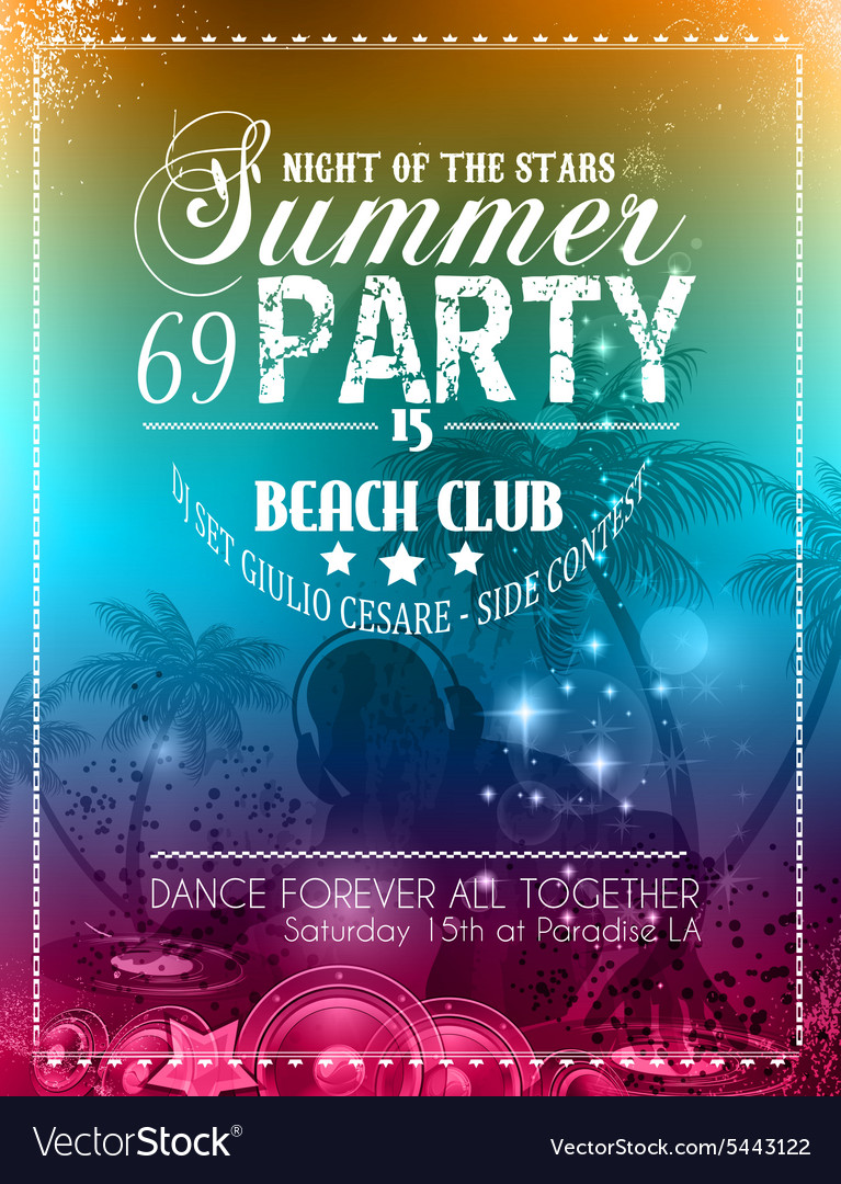 Beach Party Flyer for your latin music event