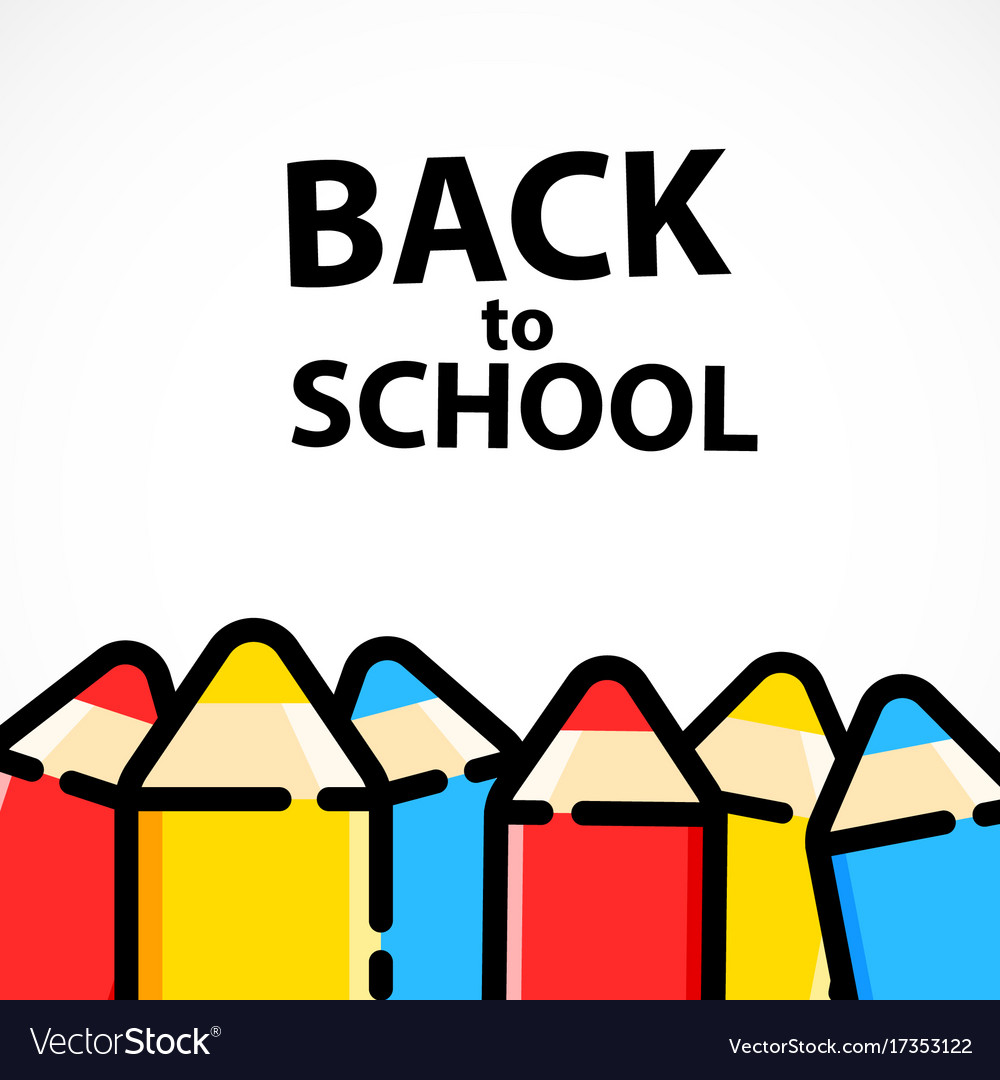 cartoon pencil background with back to school text