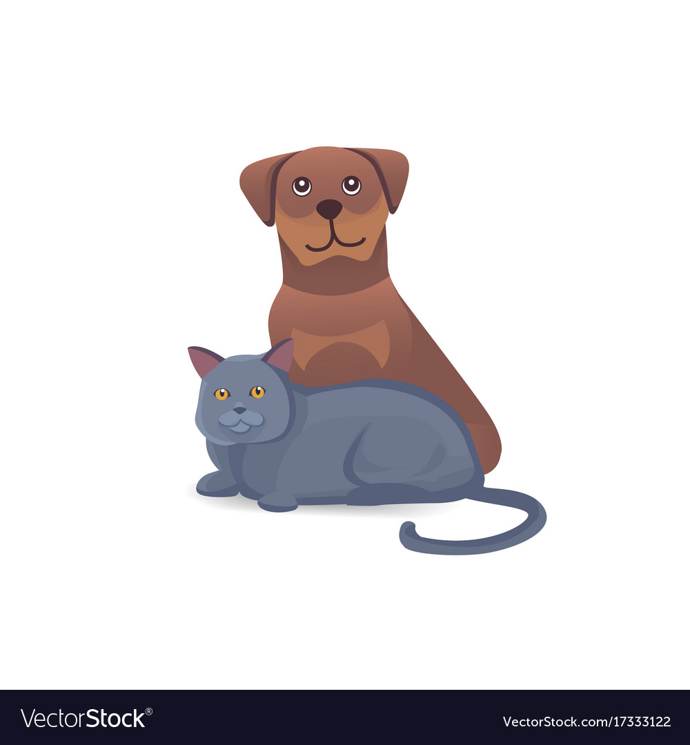 Cat and dog together cute characters cartoon